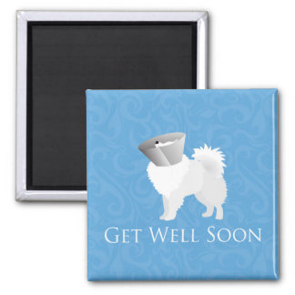 American Eskimo Dog Get Well Soon Design 2 Inch Square Magnet