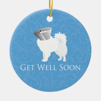 American Eskimo Dog Get Well Soon Design Ceramic Ornament