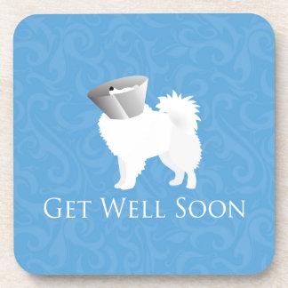 American Eskimo Dog Get Well Soon Design Drink Coaster