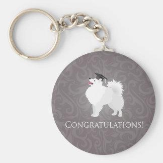 American Eskimo Dog Graduation Design Keychain