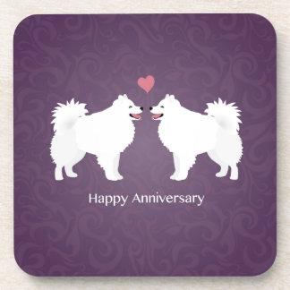American Eskimo Dog Happy Anniversary Design Beverage Coaster