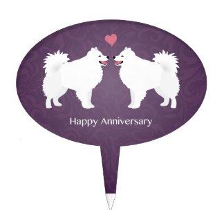 American Eskimo Dog Happy Anniversary Design Cake Topper