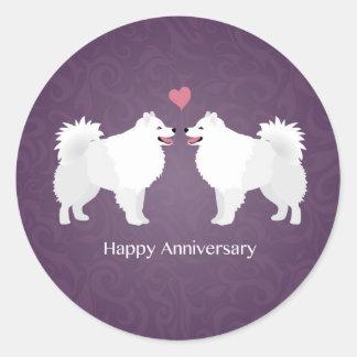 American Eskimo Dog Happy Anniversary Design Classic Round Sticker