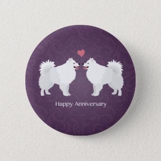 American Eskimo Dog Happy Anniversary Design Pinback Button