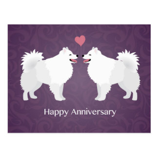 American Eskimo Dog Happy Anniversary Design Postcard