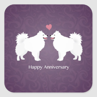 American Eskimo Dog Happy Anniversary Design Stickers