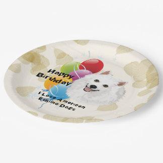 American Eskimo Dog Happy Birthday Decor Paper Plate