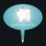 "American Eskimo Dog Happy Birthday Design Cake Topper<br><div class=""desc"">American Eskimo - request this design on any Zazzle product. Contact me at jengeraghty[at]mac.com - it will appear in my store in 3-5 days. For a custom design of your dog from your photo contact me at same email address for pricing.</div>"