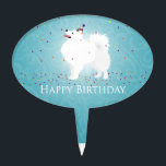 """American Eskimo Dog Happy Birthday Design Cake Topper<br><div class=""""desc"""">American Eskimo - request this design on any Zazzle product. Contact me at jengeraghty[at]mac.com - it will appear in my store in 3-5 days. For a custom design of your dog from your photo contact me at same email address for pricing.</div>"""
