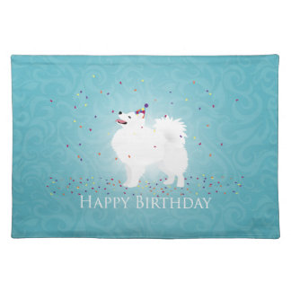 American Eskimo Dog Happy Birthday Design Cloth Placemat