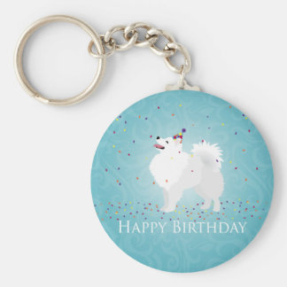 American Eskimo Dog Happy Birthday Design Keychain