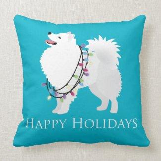 American Eskimo Dog Happy Holidays Design Pillow