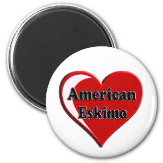 American Eskimo Dog Heart 2 Inch Round Magnet