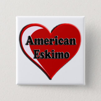 American Eskimo Dog Heart for Dog Lovers Button