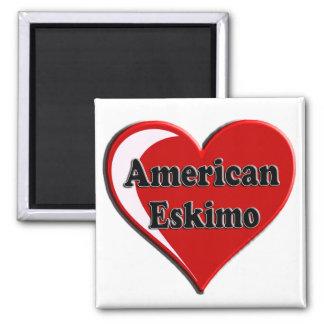 American Eskimo Dog Heart 2 Inch Square Magnet