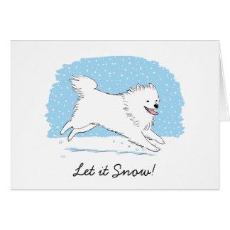 "American Eskimo Dog ""Let it Snow"" Eskie Holiday Card"