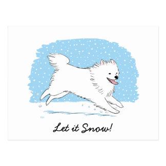 American Eskimo Dog Let it Snow Eskie Holiday Postcard