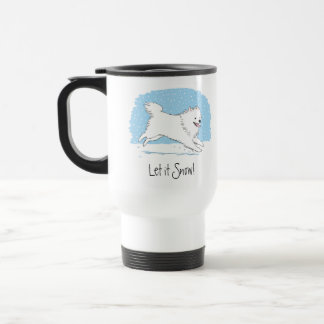 American Eskimo Dog Let it Snow Eskie Holiday Travel Mug