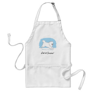 American Eskimo Dog Let it Snow Holiday Adult Apron