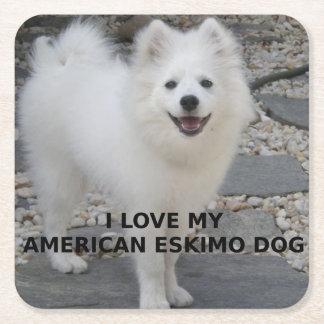 American_Eskimo_Dog_love w pic Square Paper Coaster