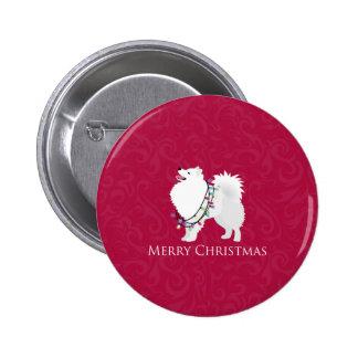 American Eskimo Dog Merry Christmas Design Buttons