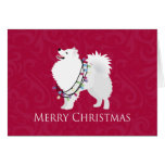 American Eskimo Dog Merry Christmas Design Greeting Card