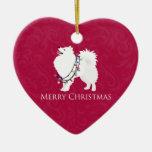 American Eskimo Dog Merry Christmas Design Ceramic Ornament