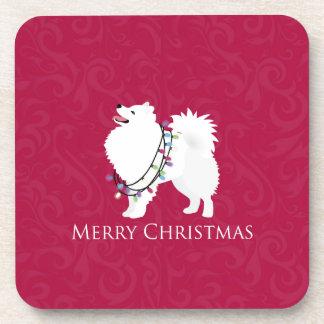 American Eskimo Dog Merry Christmas Design Coaster