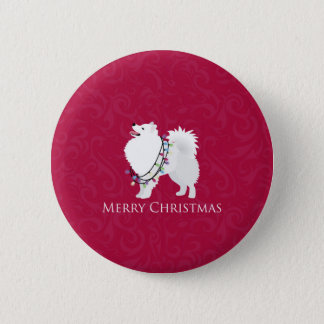 American Eskimo Dog Merry Christmas Design Pinback Button