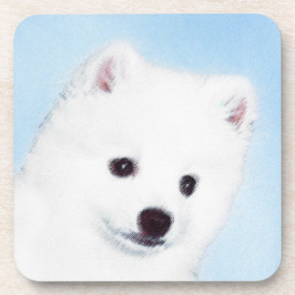 American Eskimo Dog Painting - Original Dog Art Drink Coaster