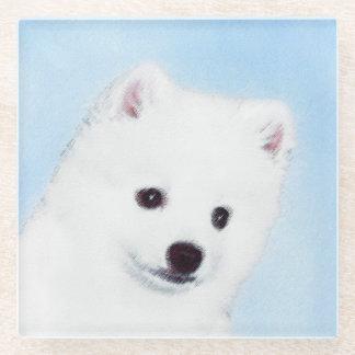 American Eskimo Dog Painting - Original Dog Art Glass Coaster