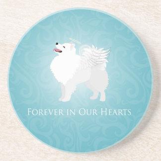 American Eskimo Dog Pet Loss Sympathy Design Sandstone Coaster