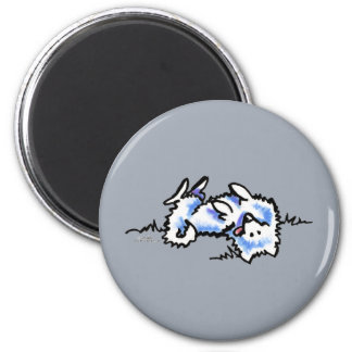 American Eskimo Dog Play Dead 2 Inch Round Magnet