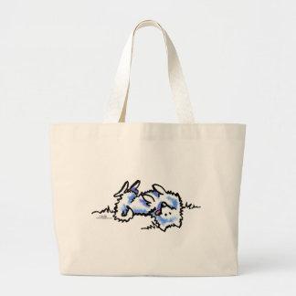 American Eskimo Dog Play Dead Large Tote Bag