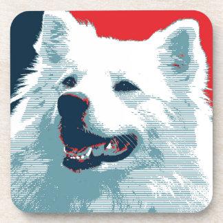 American Eskimo Dog Political Hope Parody Beverage Coaster