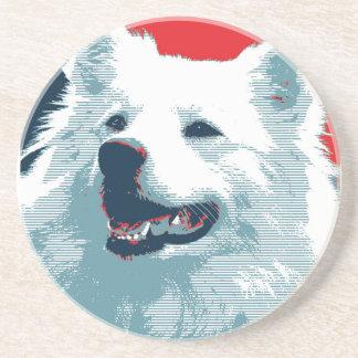 American Eskimo Dog Political Hope Parody Drink Coaster