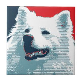 American Eskimo Dog Political Hope Parody Ceramic Tile