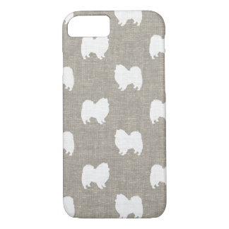 American Eskimo Dog Silhouettes Faux Linen Style iPhone 7 Case