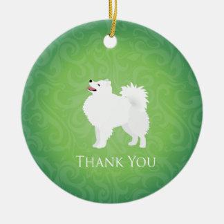 American Eskimo Dog Thank You Design Ceramic Ornament