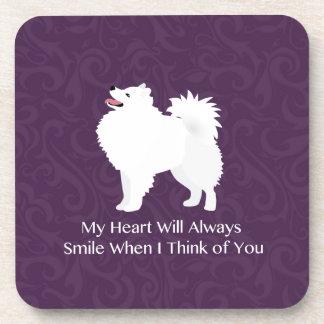 American Eskimo Dog Thinking of You Design Beverage Coaster