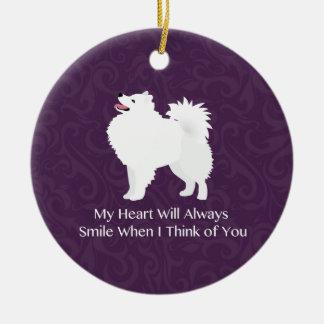 American Eskimo Dog Thinking of You Design Ceramic Ornament