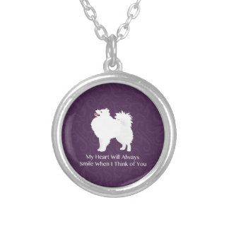 American Eskimo Dog Thinking of You Design Silver Plated Necklace