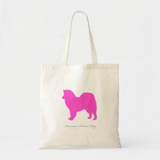 American Eskimo Dog Tote Bag (pink silhouette)