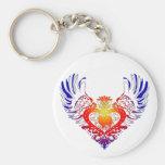 American Eskimo Dog Winged Heart Keychains