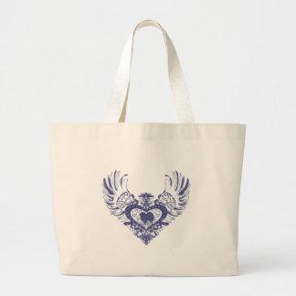 American Eskimo Dog Winged Heart Large Tote Bag
