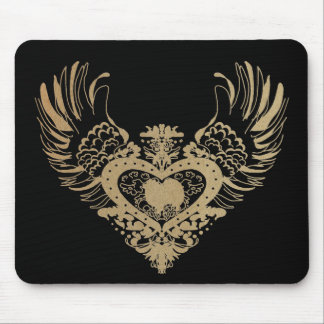 American Eskimo Dog Winged Heart Mouse Pads