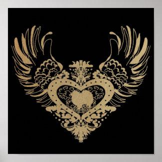 American Eskimo Dog Winged Heart Poster