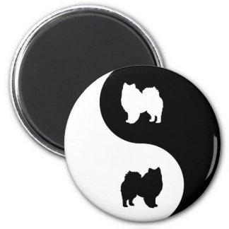 American Eskimo Dog Yin Yang 2 Inch Round Magnet
