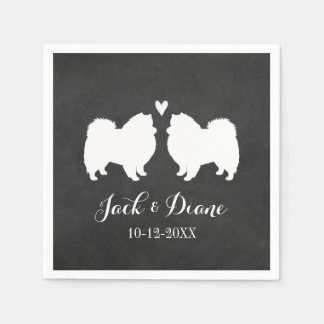 American Eskimo Dogs Wedding Couple with Text Paper Napkin