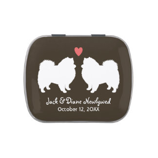 American Eskimo Dogs Wedding with Custom Text Candy Tin